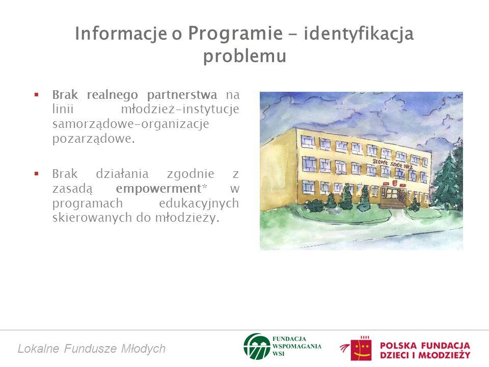 Informacje o Programie - identyfikacja problemu Brak realnego partnerstwa na linii młodzież-instytucje samorządowe-organizacje pozarządowe. Brak dział