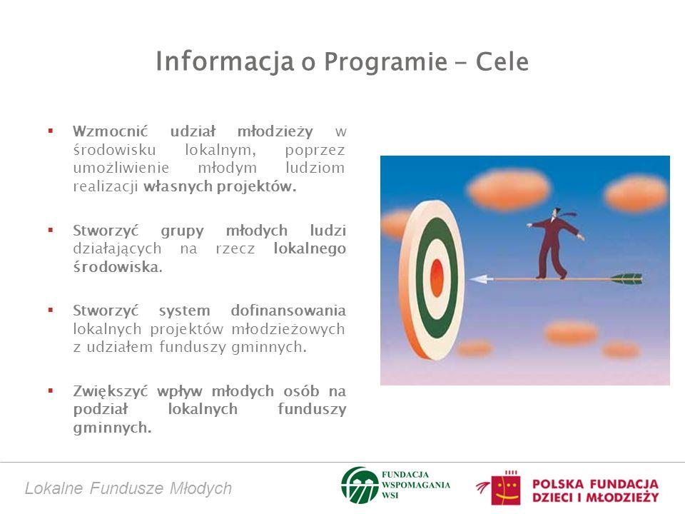 Informacja o Programie - Cele Wzmocnić udział młodzieży w środowisku lokalnym, poprzez umożliwienie młodym ludziom realizacji własnych projektów.