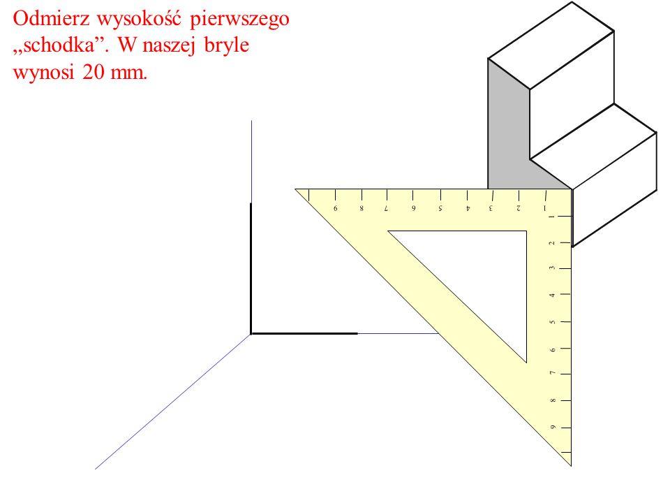 Odmierz wysokość pierwszego schodka. W naszej bryle wynosi 20 mm. 1 2 3 4 5 6 7 8 9 9 8 7 6 5 4 3 2 1