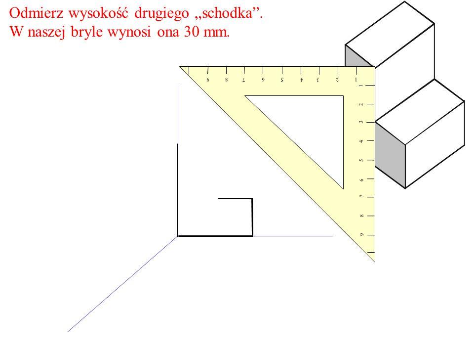 Odmierz wysokość drugiego schodka. W naszej bryle wynosi ona 30 mm. 1 2 3 4 5 6 7 8 9 9 8 7 6 5 4 3 2 1