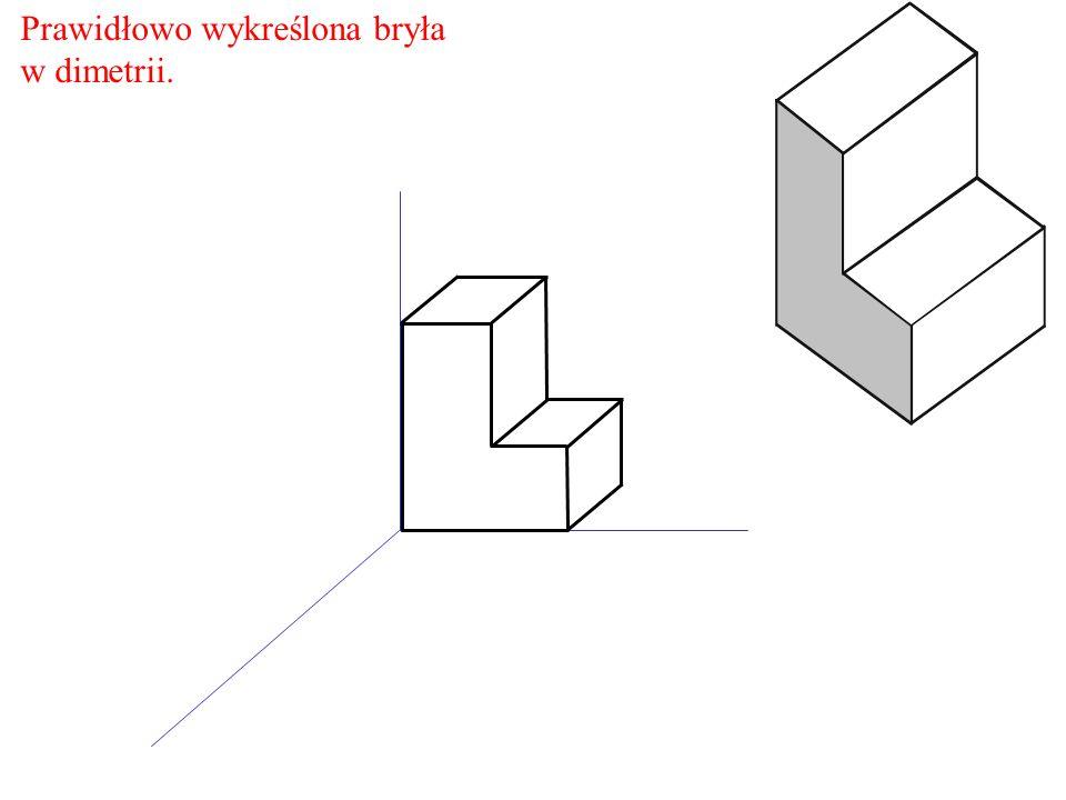 Prawidłowo wykreślona bryła w dimetrii.