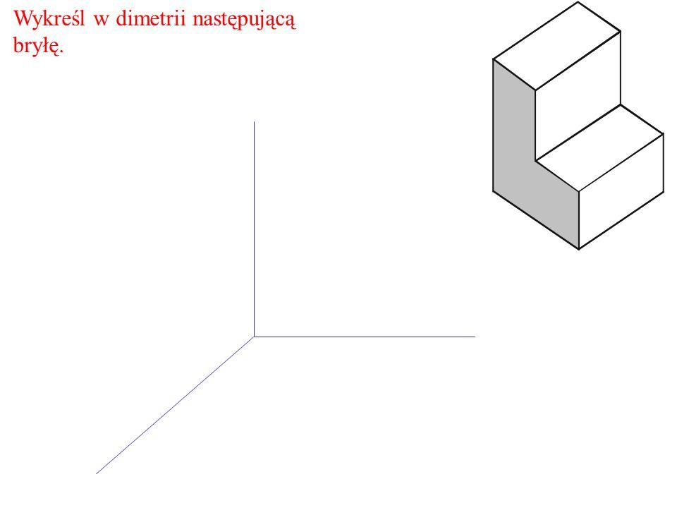 Narysuj brakującą szerokość drugiego schodka.Odcinek ten ma długość 20 mm.