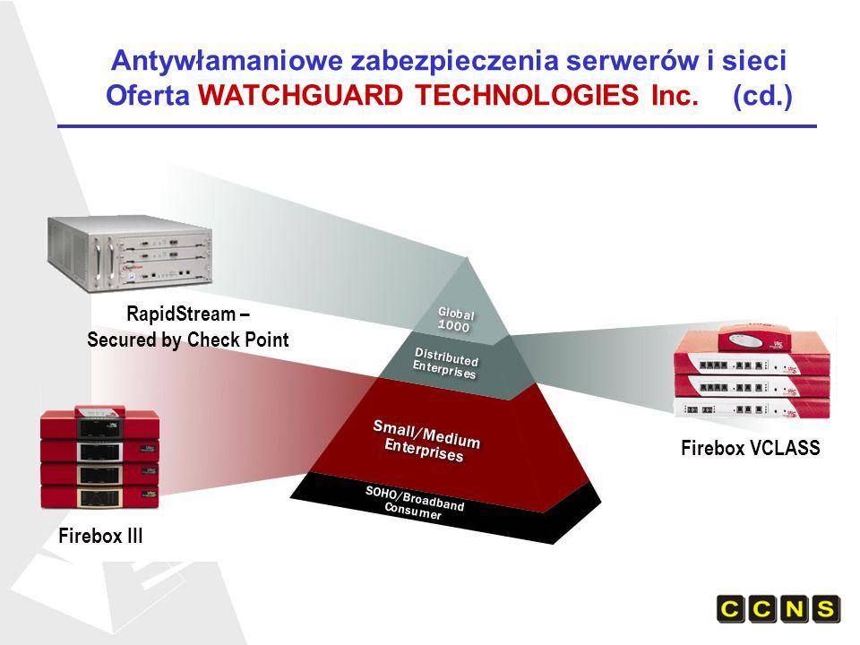 Firebox III Firebox VCLASS RapidStream – Secured by Check Point Antywłamaniowe zabezpieczenia serwerów i sieci Oferta WATCHGUARD TECHNOLOGIES Inc. (cd