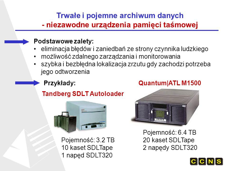 Trwałe i pojemne archiwum danych - niezawodne urządzenia pamięci taśmowej Podstawowe zalety: eliminacja błędów i zaniedbań ze strony czynnika ludzkiego możliwość zdalnego zarządzania i monitorowania szybka i bezbłędna lokalizacja zrzutu gdy zachodzi potrzeba jego odtworzenia Przykłady: Quantum|ATL M1500 Tandberg SDLT Autoloader Pojemność: 3.2 TB 10 kaset SDLTape 1 napęd SDLT320 Pojemność: 6.4 TB 20 kaset SDLTape 2 napędy SDLT320