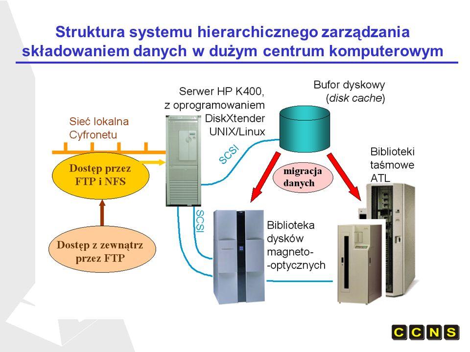 Struktura systemu hierarchicznego zarządzania składowaniem danych w dużym centrum komputerowym