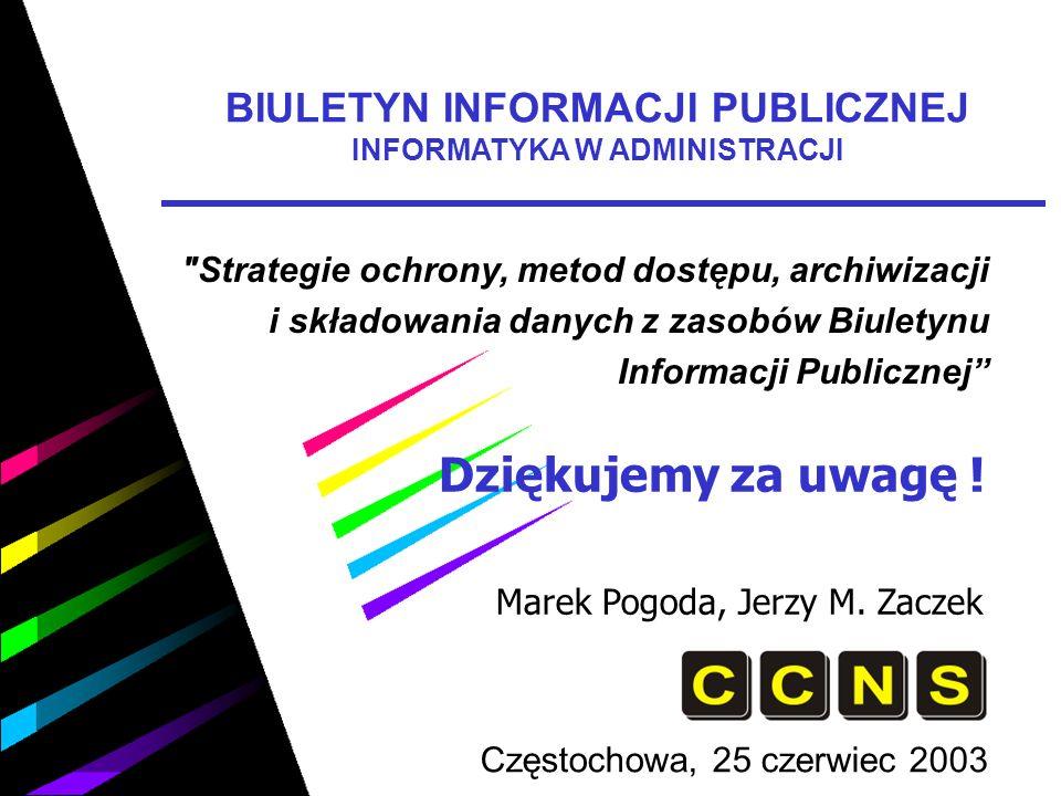 Dziękujemy za uwagę ! Marek Pogoda, Jerzy M. Zaczek Częstochowa, 25 czerwiec 2003