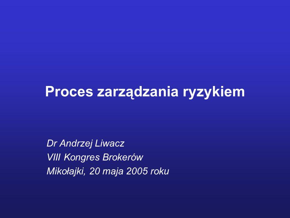 Proces zarządzania ryzykiem Dr Andrzej Liwacz VIII Kongres Brokerów Mikołajki, 20 maja 2005 roku