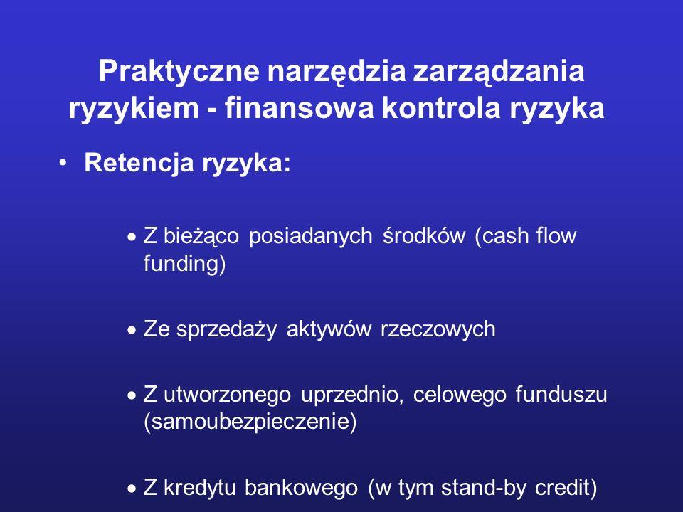 Praktyczne narzędzia zarządzania ryzykiem - finansowa kontrola ryzyka Retencja ryzyka: Z bieżąco posiadanych środków (cash flow funding) Ze sprzedaży
