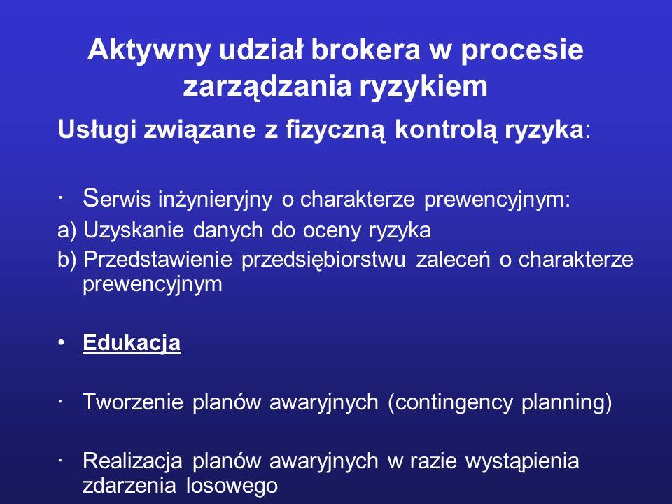 Usługi związane z fizyczną kontrolą ryzyka: ·S erwis inżynieryjny o charakterze prewencyjnym: a) Uzyskanie danych do oceny ryzyka b) Przedstawienie pr