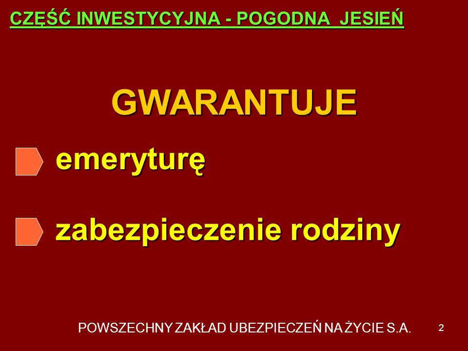 POWSZECHNY ZAKŁAD UBEZPIECZEŃ NA ŻYCIE S.A. 1 Grupowe ubezpieczenie emerytalne POGODNA JESIEŃ - część inwestycyjna