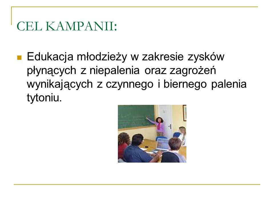 CEL KAMPANII : Edukacja młodzieży w zakresie zysków płynących z niepalenia oraz zagrożeń wynikających z czynnego i biernego palenia tytoniu.