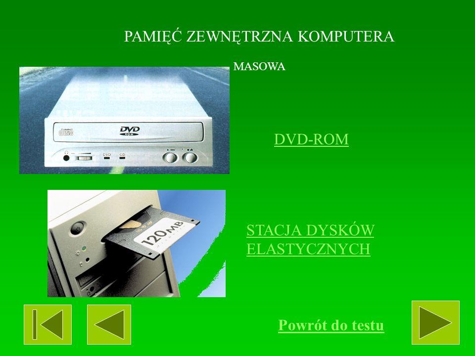 PAMIĘĆ ZEWNĘTRZNA KOMPUTERA MASOWA CD-ROM DYSK TWARDY (HDD) CD Powrót do testu