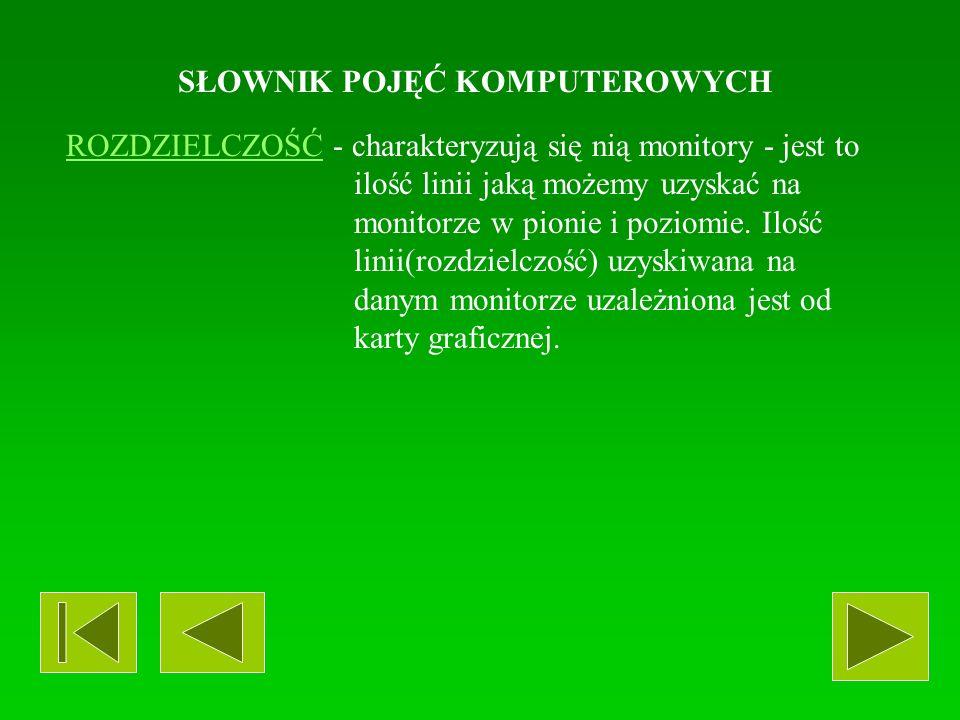 SŁOWNIK POJĘĆ KOMPUTEROWYCH MONITORMONITOR - urządzenie podobne w funkcji do telewizora, umożliwiające pokazywanie komunikatów pochodzących od komputera.
