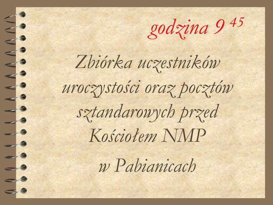 Zbiórka uczestników uroczystości oraz pocztów sztandarowych przed Kościołem NMP w Pabianicach godzina 9 45