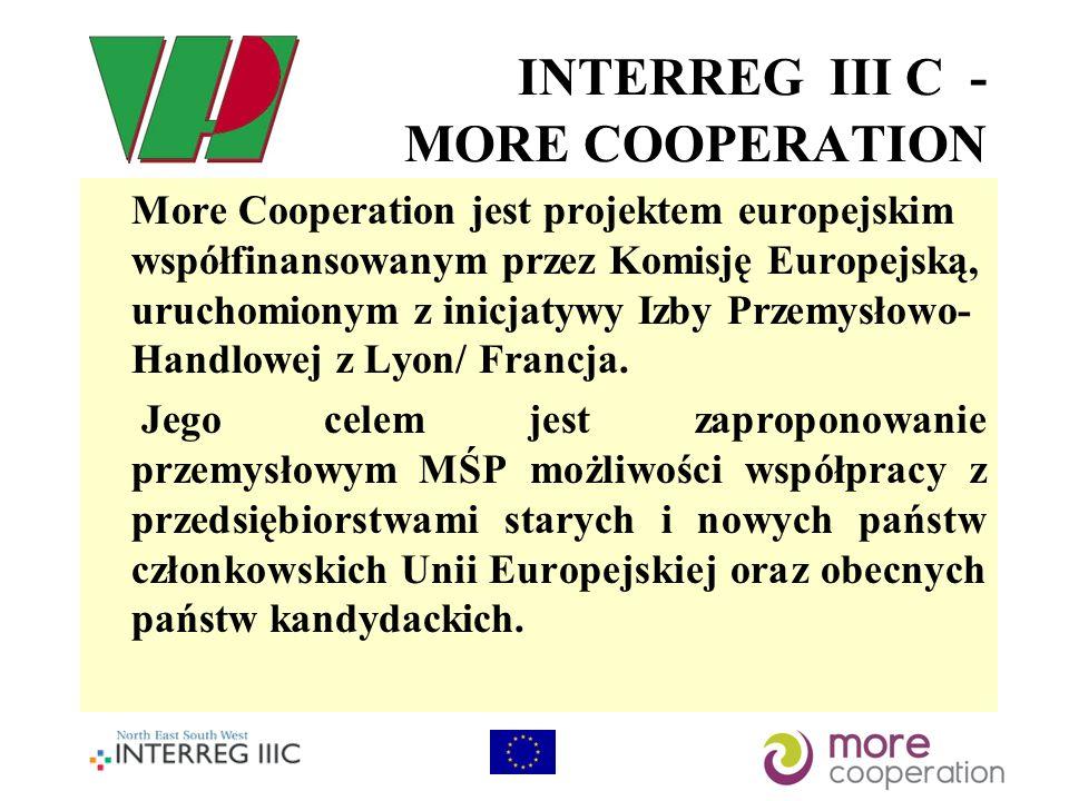 INTERREG III C - MORE COOPERATION More Cooperation jest projektem europejskim współfinansowanym przez Komisję Europejską, uruchomionym z inicjatywy Izby Przemysłowo- Handlowej z Lyon/ Francja.