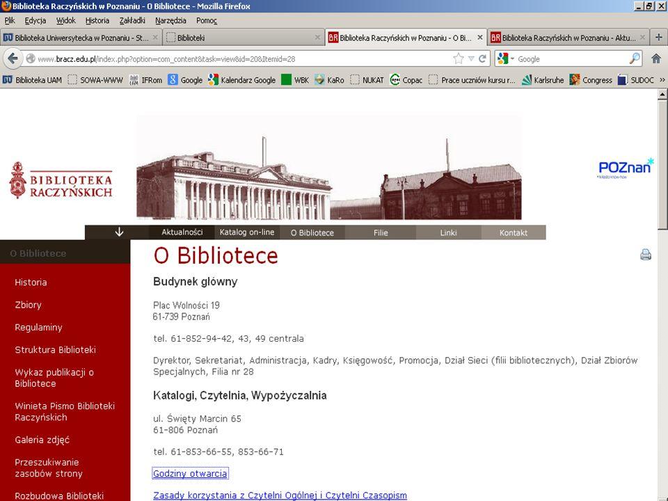 Uprawnienia czytelników w Bibliotece Raczyńskich: Aby skorzystać z Centralnej Wypożyczalni, należy założyć konto czytelnika: przedstawić dokument tożs