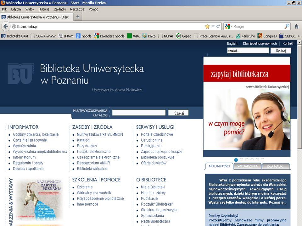 Biblioteka Uniwersytetu im. Adama Mickiewicza Biblioteka Uniwersytecka w Poznaniu ul. Ratajczaka 38/40 61-816 Poznań 61 829 38 17 library@amu.edu.pl O