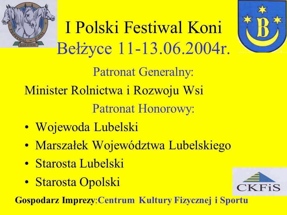 I Polski Festiwal Koni Bełżyce 11-13.06.2004r. Patronat Generalny: Minister Rolnictwa i Rozwoju Wsi Patronat Honorowy: Wojewoda Lubelski Marszałek Woj