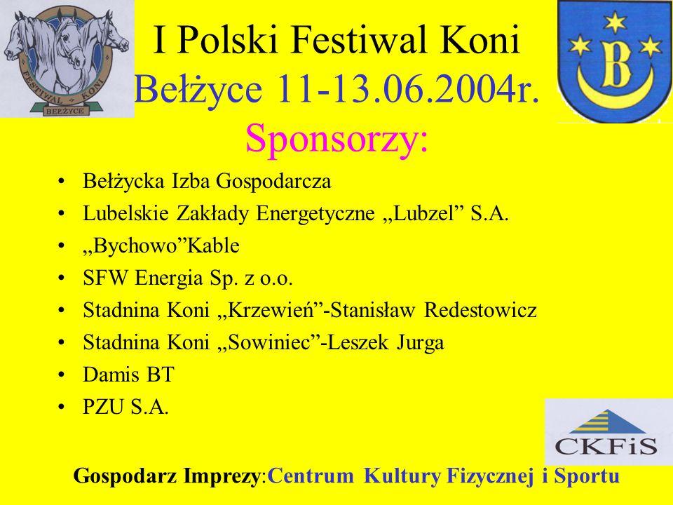 I Polski Festiwal Koni Bełżyce 11-13.06.2004r. Sponsorzy: Bełżycka Izba Gospodarcza Lubelskie Zakłady Energetyczne Lubzel S.A. BychowoKable SFW Energi