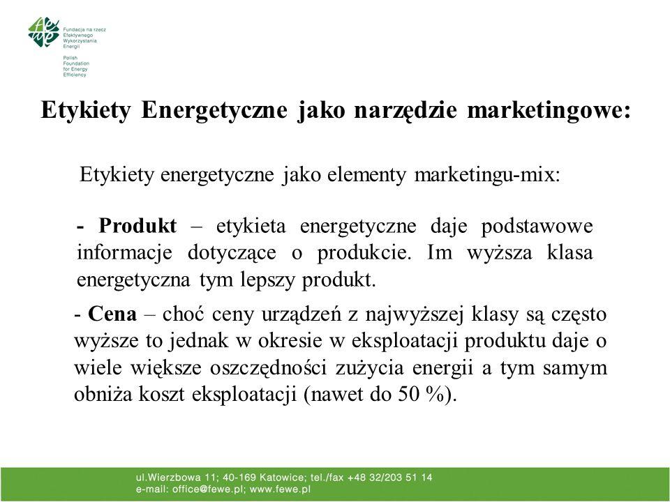 Etykiety Energetyczne jako narzędzie marketingowe: Etykiety energetyczne jako elementy marketingu-mix: - Cena – choć ceny urządzeń z najwyższej klasy są często wyższe to jednak w okresie w eksploatacji produktu daje o wiele większe oszczędności zużycia energii a tym samym obniża koszt eksploatacji (nawet do 50 %).