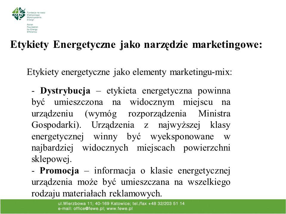 Etykiety Energetyczne jako narzędzie marketingowe: Etykiety energetyczne jako elementy marketingu-mix: - Dystrybucja – etykieta energetyczna powinna być umieszczona na widocznym miejscu na urządzeniu (wymóg rozporządzenia Ministra Gospodarki).