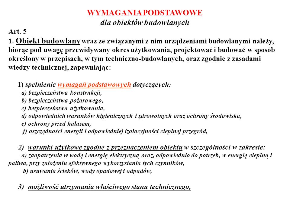 WYMAGANIA PODSTAWOWE – c.d.