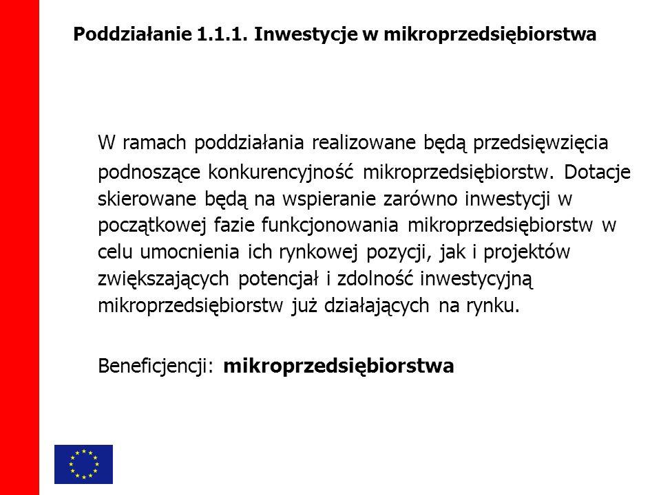 W ramach poddziałania realizowane będą przedsięwzięcia podnoszące konkurencyjność mikroprzedsiębiorstw.