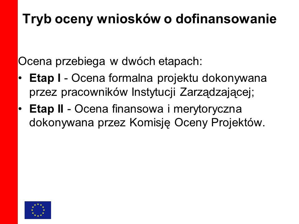 Tryb oceny wniosków o dofinansowanie Ocena przebiega w dwóch etapach: Etap I - Ocena formalna projektu dokonywana przez pracowników Instytucji Zarządzającej; Etap II - Ocena finansowa i merytoryczna dokonywana przez Komisję Oceny Projektów.