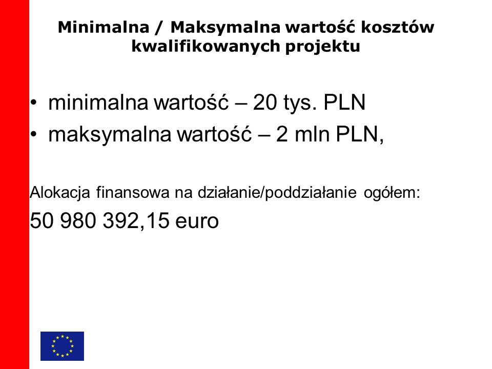 Minimalna / Maksymalna wartość kosztów kwalifikowanych projektu minimalna wartość – 20 tys.