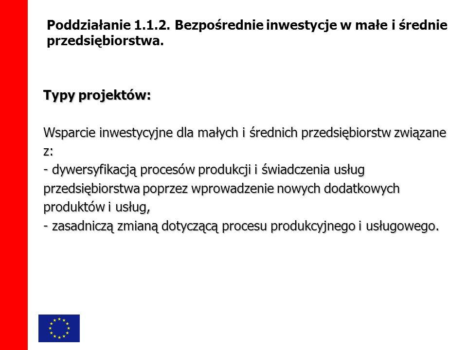 Poddziałanie 1.1.2. Bezpośrednie inwestycje w małe i średnie przedsiębiorstwa.