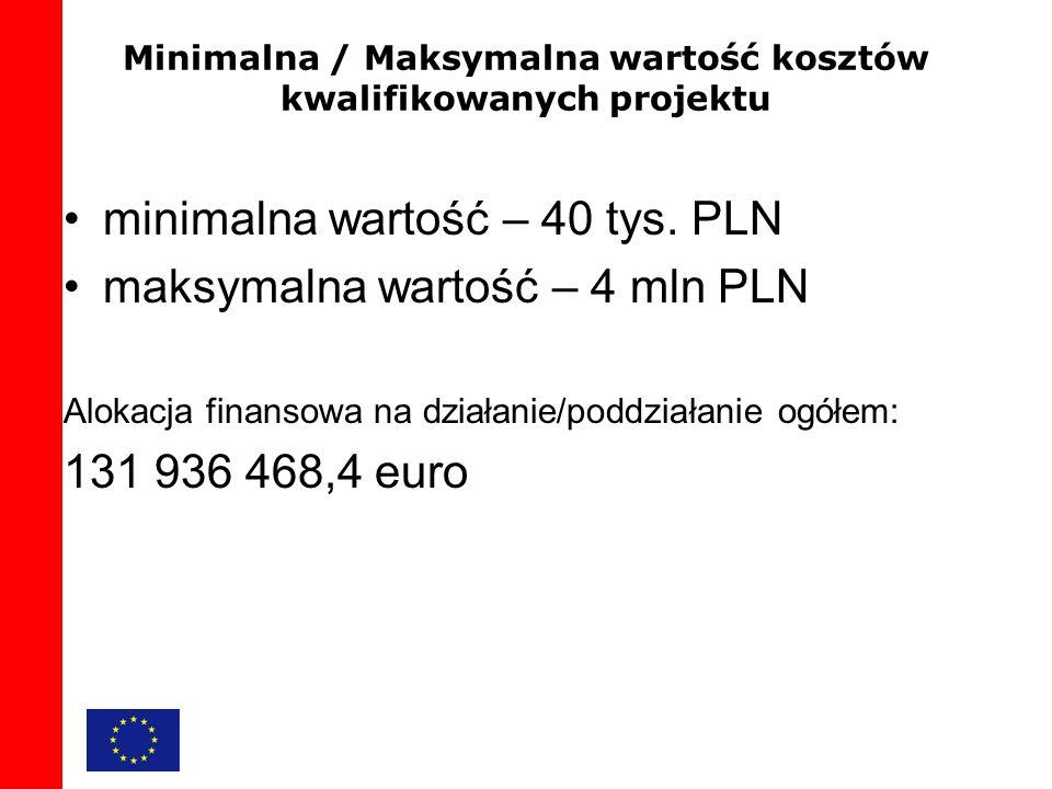 Minimalna / Maksymalna wartość kosztów kwalifikowanych projektu minimalna wartość – 40 tys.
