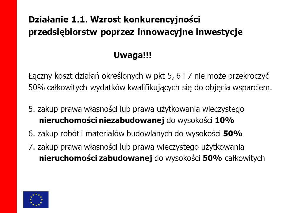 Działanie 1.1. Wzrost konkurencyjności przedsiębiorstw poprzez innowacyjne inwestycje Uwaga!!.