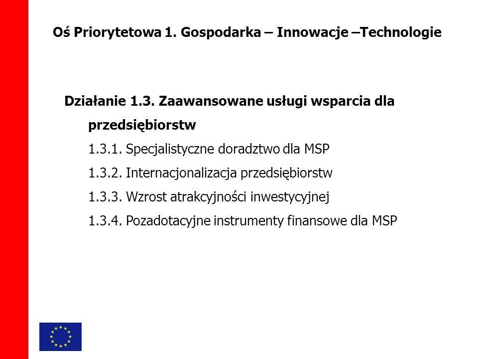 Oś Priorytetowa 1. Gospodarka – Innowacje –Technologie Działanie 1.3.