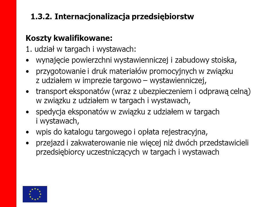 1.3.2. Internacjonalizacja przedsiębiorstw Koszty kwalifikowane: 1.
