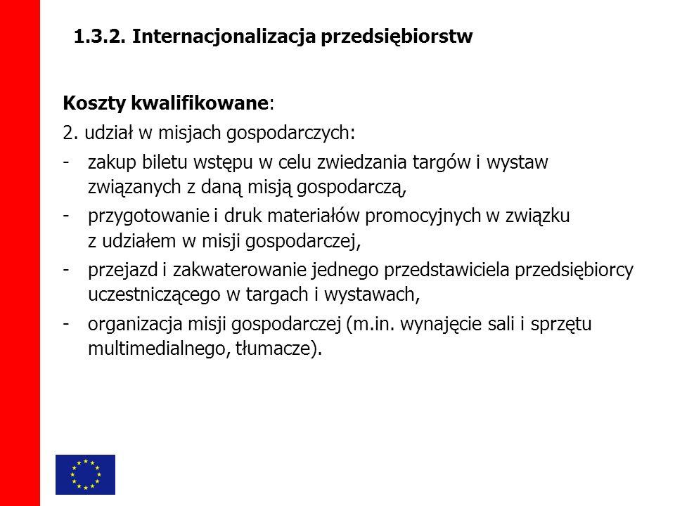 1.3.2. Internacjonalizacja przedsiębiorstw Koszty kwalifikowane: 2.
