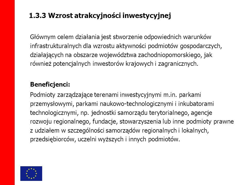 1.3.3 Wzrost atrakcyjności inwestycyjnej Głównym celem działania jest stworzenie odpowiednich warunków infrastrukturalnych dla wzrostu aktywności podmiotów gospodarczych, działających na obszarze województwa zachodniopomorskiego, jak również potencjalnych inwestorów krajowych i zagranicznych.