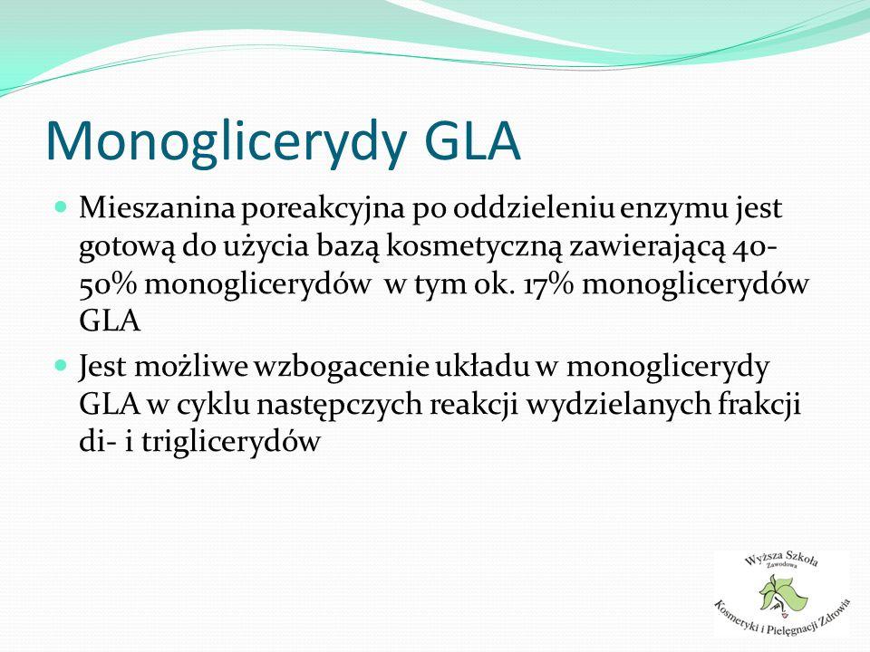 Mieszanina poreakcyjna po oddzieleniu enzymu jest gotową do użycia bazą kosmetyczną zawierającą 40- 50% monoglicerydów w tym ok. 17% monoglicerydów GL