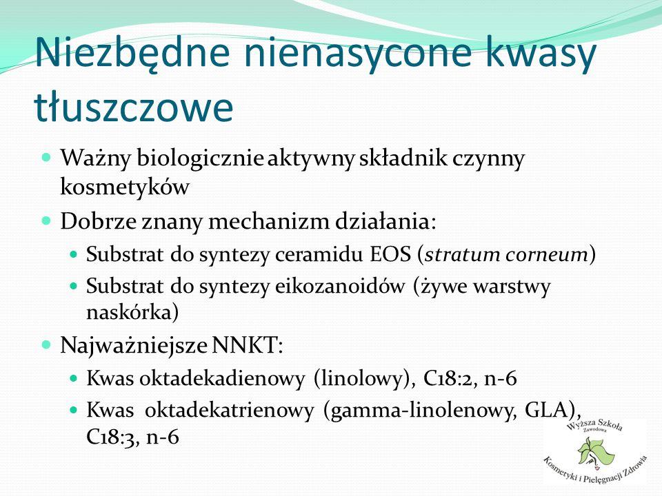 Niezbędne nienasycone kwasy tłuszczowe Ważny biologicznie aktywny składnik czynny kosmetyków Dobrze znany mechanizm działania: Substrat do syntezy cer
