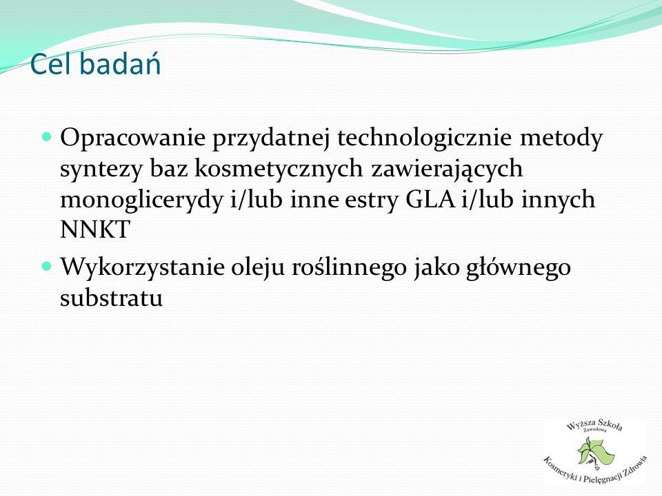 Założenia Produkt powinien zawierać możliwie wysokie stężenie estrów GLA (NNKT) Bezpośrednia transestryfikacja powinna być głównym mechanizmem syntezy Warunki reakcji nie powinny sprzyjać izomeryzacji i/lub innym potencjalnie niekorzystnym reakcjom ubocznym kwasów wielonienasyconych.