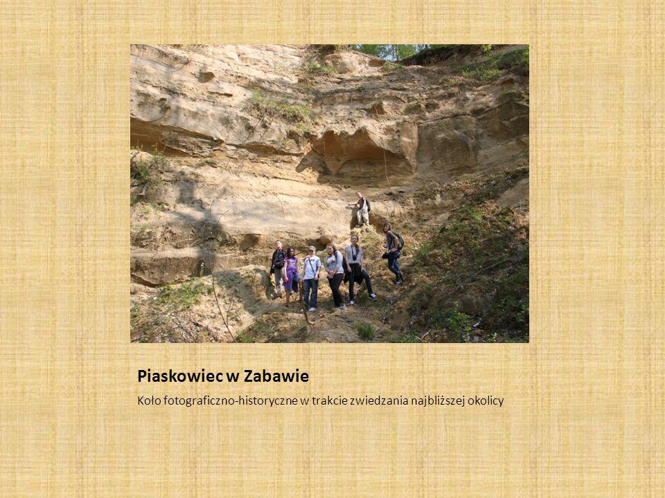 Piaskowiec w Zabawie Koło fotograficzno-historyczne w trakcie zwiedzania najbliższej okolicy