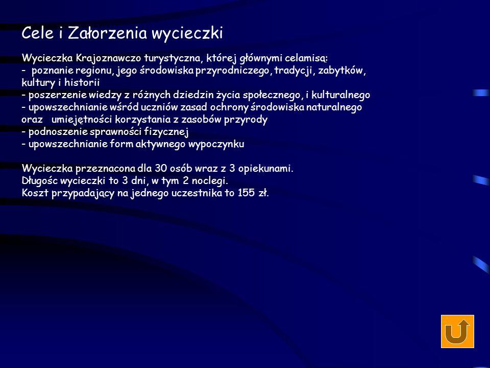 Koszty wycieczki dla 30-osobowej grupy - opłata za wynajem autobusu na trzy dni - 350 zł - opłaty za noclegi: 1 dzień - Sromowce Wyżne - stancja 20 zł/os.