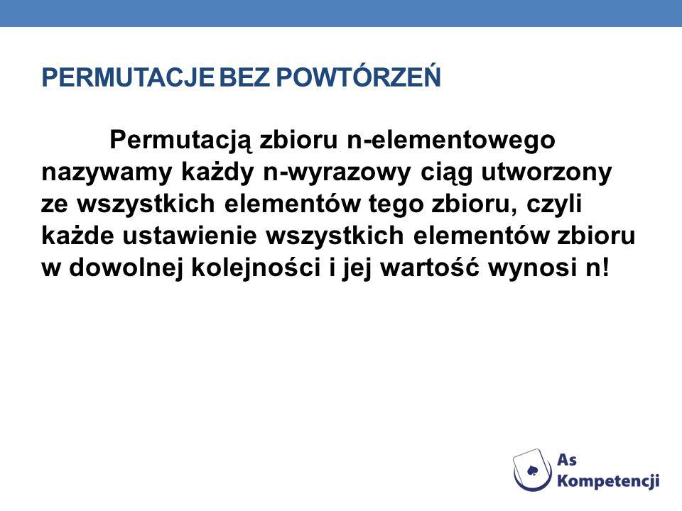 PERMUTACJE BEZ POWTÓRZEŃ Permutacją zbioru n-elementowego nazywamy każdy n-wyrazowy ciąg utworzony ze wszystkich elementów tego zbioru, czyli każde us