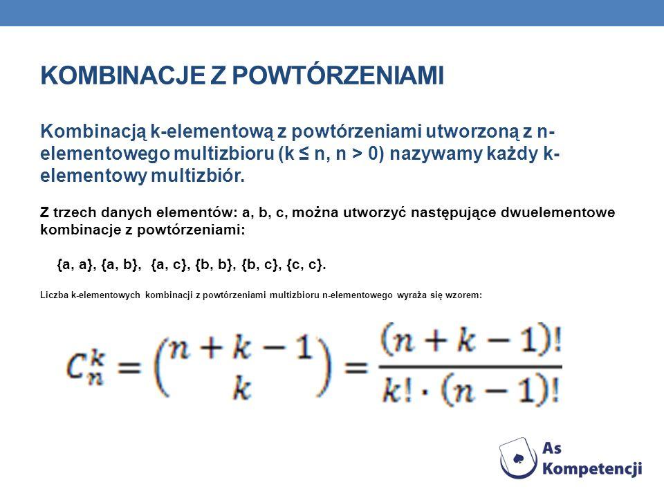 KOMBINACJE Z POWTÓRZENIAMI Kombinacją k-elementową z powtórzeniami utworzoną z n- elementowego multizbioru (k n, n > 0) nazywamy każdy k- elementowy m