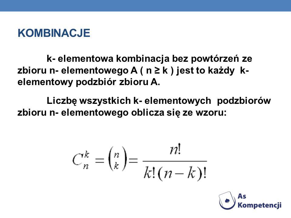 KOMBINACJE k- elementowa kombinacja bez powtórzeń ze zbioru n- elementowego A ( n k ) jest to każdy k- elementowy podzbiór zbioru A. Liczbę wszystkich
