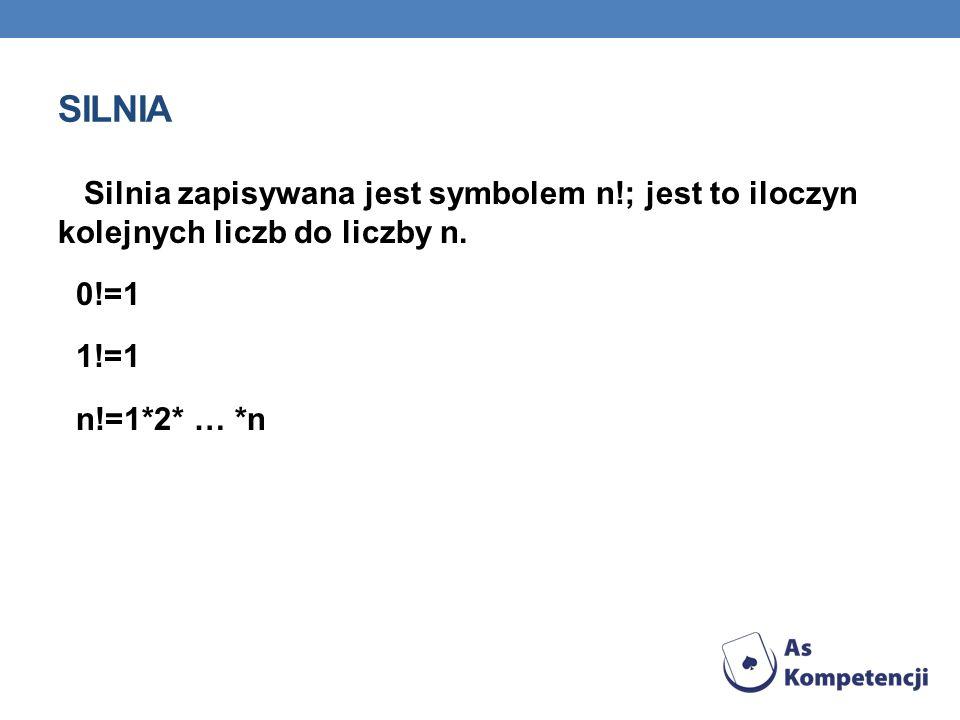 SILNIA Silnia zapisywana jest symbolem n!; jest to iloczyn kolejnych liczb do liczby n. 0!=1 1!=1 n!=1*2* … *n