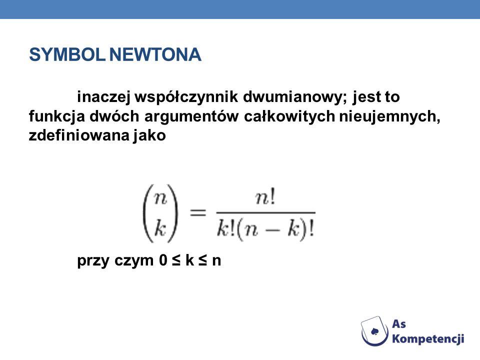 SYMBOL NEWTONA inaczej współczynnik dwumianowy; jest to funkcja dwóch argumentów całkowitych nieujemnych, zdefiniowana jako przy czym 0 k n