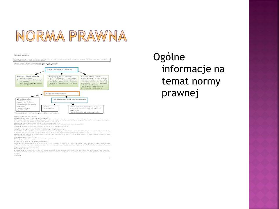 Ogólne informacje na temat normy prawnej