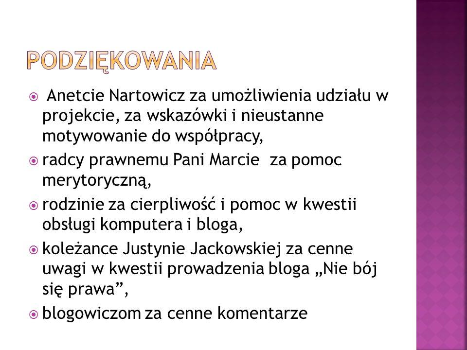 Anetcie Nartowicz za umożliwienia udziału w projekcie, za wskazówki i nieustanne motywowanie do współpracy, radcy prawnemu Pani Marcie za pomoc meryto