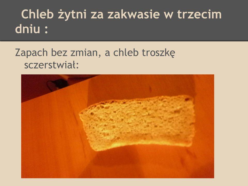 Chleb żytni za zakwasie w trzecim dniu : Zapach bez zmian, a chleb troszkę sczerstwiał: