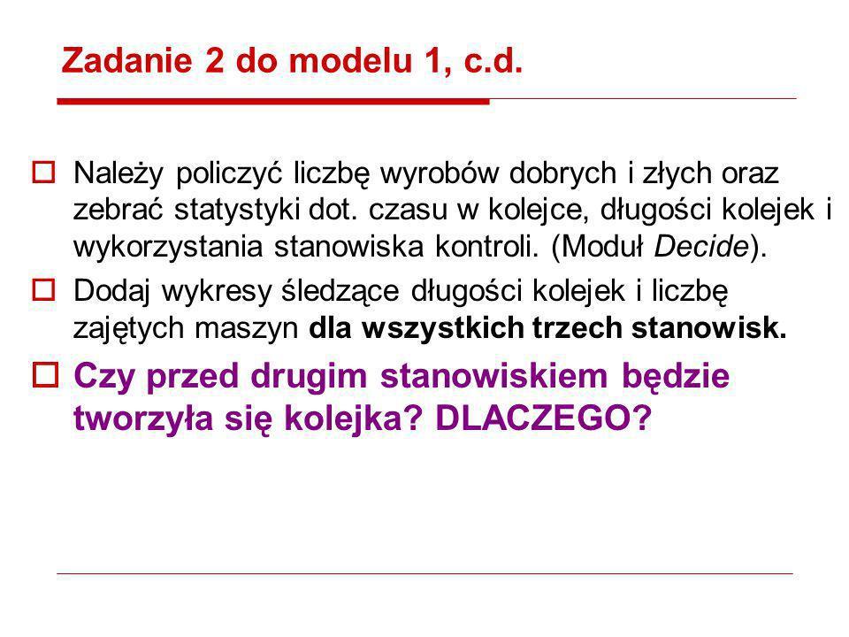 Zadanie 2 do modelu 1, c.d. Należy policzyć liczbę wyrobów dobrych i złych oraz zebrać statystyki dot. czasu w kolejce, długości kolejek i wykorzystan
